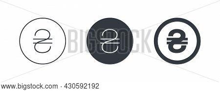 Sign Of Ukrainian Hryvnia. Symbol Of Ukrainian Currency. Money Symbols Of The World. Vector Illustra