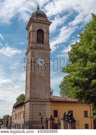 Bell Tower Of The Church Of San Giacomo Apostolo In Cadè In The Province Of Reggio Nell'emilia, Ital