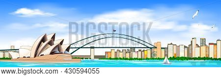 Australian City Of Sydney. Sea. Bridge Over The Bay. Blue Sky With Clouds. City Landscape.
