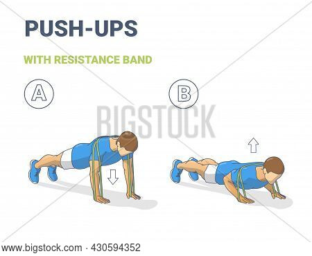 Man Doing Push Ups Home Workout Exercise With Resistance Band Guidance. Male Do Fitness Exercise.