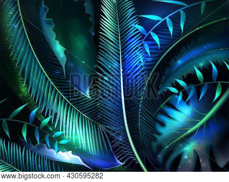 Realistic Palm Leaves With Neon Glow. Tropic Jungle Palm Leaves, Exotic Glowing Forest Plants. Summe