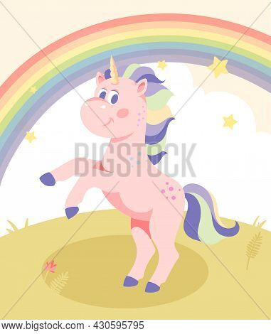 Beautiful Pink Unicorn. Fabulous Character With Multicolored Mane And Horn. Children Card, Poster, C
