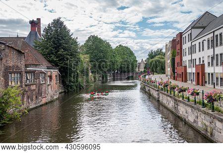 Gent, Flanders, Belgium - July 30, 2021: Sint Antoniuskaai Along Lieve River Looking At Rabot Fortif