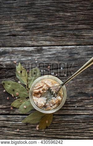 Stew In A Glass Jar On A Wooden Table. Preservation And Storage Of Products. Farm Organic Food.