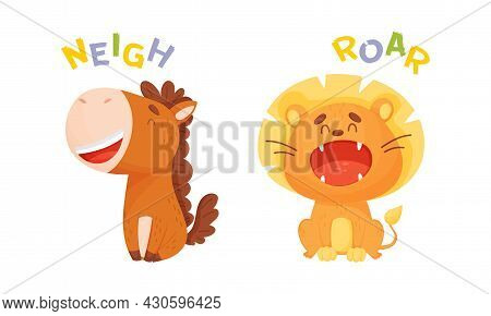 Cute Baby Animals Making Sounds Set. Horse And Lion Saying Neigh And Roar Vector Illustration