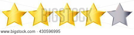 Four 4 Star Rank Sign. Glossy Golden Star Sticker Icon Rating Isolated On White Background. Vector I