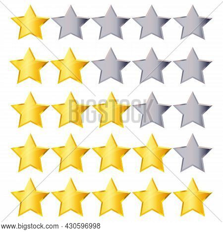 Golden Rating Stars Set Isolated On White Background. Gold And Silver Star Collection To Rank Hotel,
