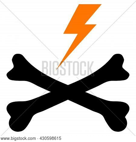 Electric Hazard Icon With Flat Style. Isolated Vector Electric Hazard Icon Image On A White Backgrou