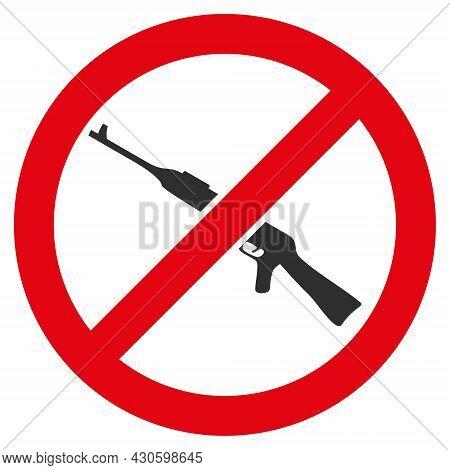 Forbid Kalashnikov Weapon Icon With Flat Style. Isolated Vector Forbid Kalashnikov Weapon Icon Image