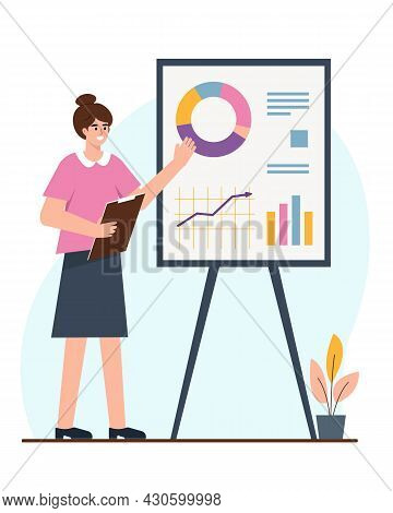 Businesswoman Or Student Next To Flipchart With Graph And Chart. Girl Presents Marketing Data On Pre