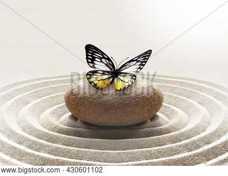 Zen Garden Meditation Stone Background With Stone And Lines In Sand For Relaxation Balance And Harmo