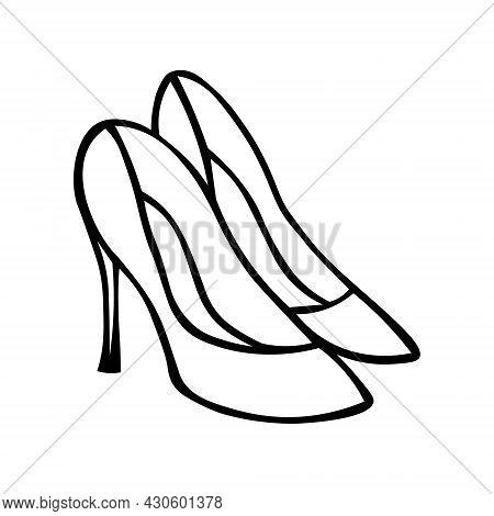 Doodle Vector Shoe Illustration. Hand Drawn Women Classic Shoes. Line Art Style Women S Classic Shoe