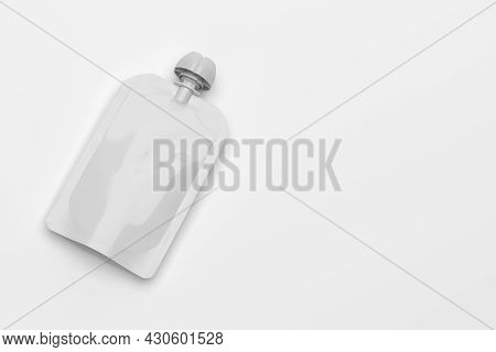 White Empty Plastic Pouch For Baby Food, Fruit Puree, Yogurt Mock-up Template For Design. 3d Renderi