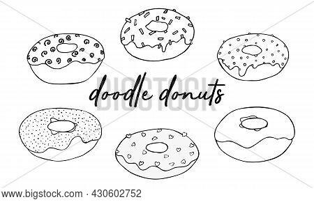Sweet Desserts. Set Donut Doodles. Vector Illustration. Drawing Line Donuts. Sketch Of Delicious Don