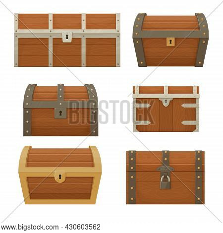 Collection Of Old Wooden Chests Of Various Shapes And Sizes.  Pirate Treasure. Vintage Trunk. Cartoo