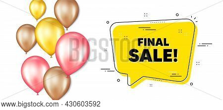 Final Sale Text. Balloons Promotion Banner With Chat Bubble. Special Offer Price Sign. Advertising D
