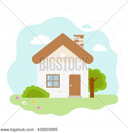 Beige House. Behind The House There Is A Blue Sky And A Green Tree. Sunny Summer Day. White Backgrou