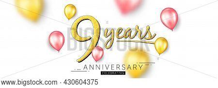 9 Years Anniversary. Happy Birthday Balloons Background. Nine Years Celebration Icon. Anniversary Ce