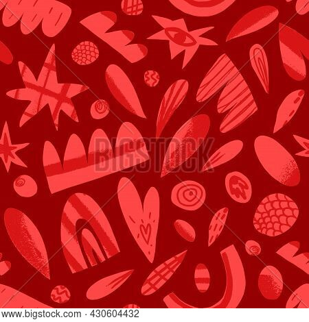 Valentines Day Seamless Pattern. Abstract Shapes, Figures, Elements Like Circles, Cloud, Stars, Hear