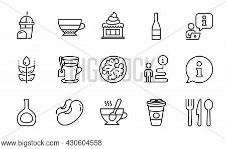 Food And Drink Icons Set. Included Icon As Tea, Champagne Bottle, Takeaway Coffee Signs. Americano,