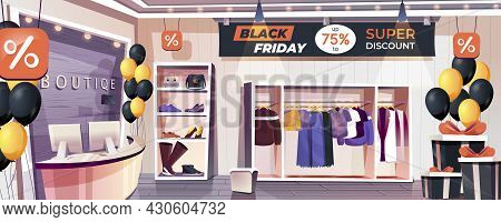 Black Friday Shop Landing Page. Clothing And Footwear Store Interior Web Banner Background. Seasonal