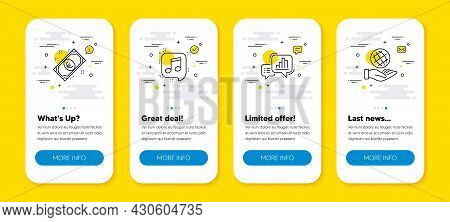 Vector Set Of Graph Chart, Musical Note And Euro Money Line Icons Set. Ui Phone App Screens With Lin
