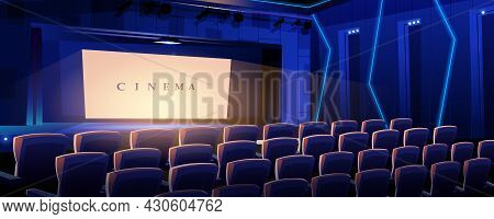 Cinema Landing Page. Movie Concert Hall With Rows Of Armchairs And Luminous Screen Interior. Film An