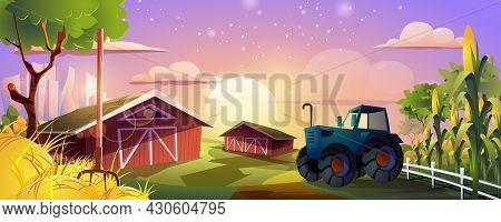 Farming Landing Page. Agricultural Farm With Barns, Tractor, Corn Fields And Hay. Growing Organic Pr