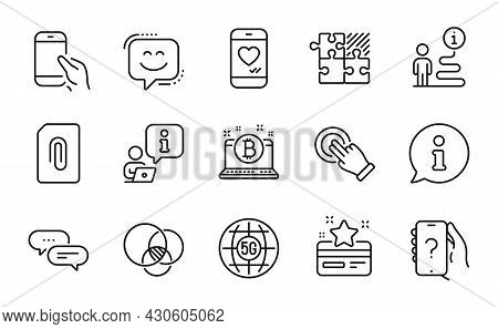 Technology Icons Set. Included Icon As Loyalty Card, Bitcoin, 5g Internet Signs. Ask Question, Touch