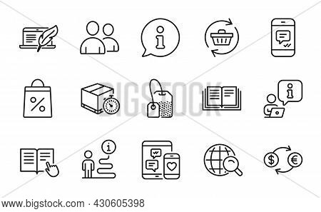 Line Icons Set. Included Icon As Message, Currency Exchange, Refresh Cart Signs. Tea Bag, Shopping B