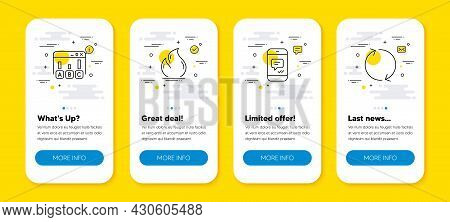 Vector Set Of Survey Results, Fire Energy And Message Line Icons Set. Ui Phone App Screens With Line