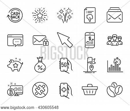 Vector Set Of Fireworks, Thumb Down And Secure Mail Line Icons Set. Health App, No Puzzle And Seo Me