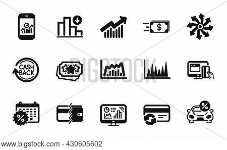 Vector Set Of Versatile, Online Payment And Calendar Discounts Icons Simple Set. Cashback, Car Leasi