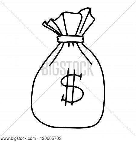 Doodle Money Bag Sack Icon. Finance And Business Illustration. Outline Money Bag Vector For Web Desi
