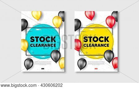 Stock Clearance Sale Text. Flyer Posters With Realistic Balloons Cover. Special Offer Price Sign. Ad