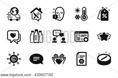 Vector Set Of Copywriting Network, Delivery Service And Medical Tablet Icons Simple Set. Heart, Food