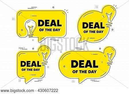 Deal Of The Day Text. Idea Yellow Chat Bubbles. Special Offer Price Sign. Advertising Discounts Symb