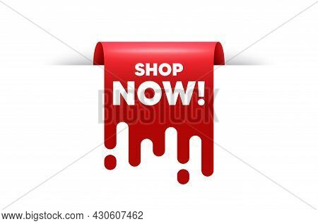 Shop Now Text. Red Ribbon Tag Banner. Special Offer Sign. Retail Advertising Symbol. Shop Now Sticke
