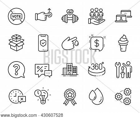 Vector Set Of Phone Protection, Gears And Buildings Line Icons Set. Dumbbell, Blood Donation And Pay