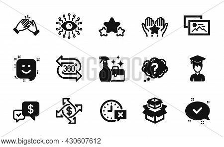 Vector Set Of Ranking, Clapping Hands And Smile Icons Simple Set. Packing Boxes, Stars And Cleanser