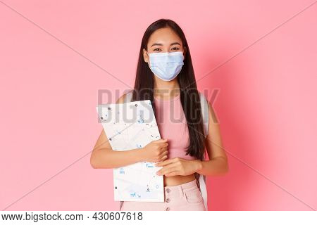 Safe Tourism, Travelling During Coronavirus Pandemic And Preventing Virus Concept. Cute Asian Girl T
