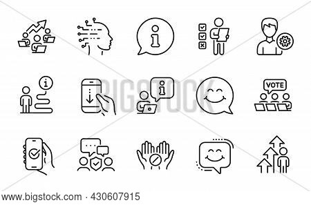 People Icons Set. Included Icon As Smile Face, Artificial Intelligence, Scroll Down Signs. Security