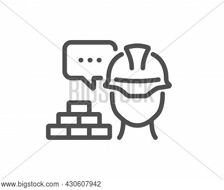 Build Line Icon. Safety Helmet Sign. Construction Engineer Symbol. Quality Design Element. Linear St