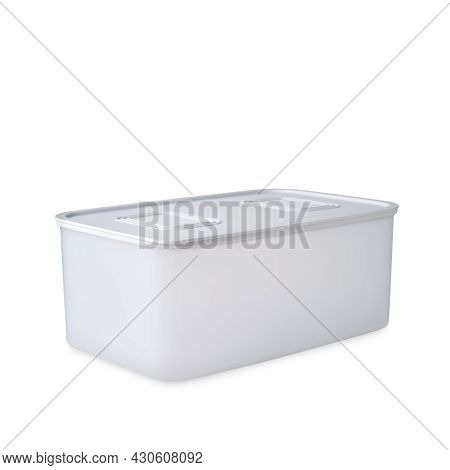 Tupperware Plastic Container. Plastic White Food Storage Box Closed With Lid Isolated On White Backg