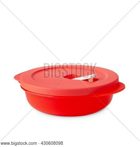 Tupperware Plastic Container. Plastic Red Food Microwave Box Closed Lid With Valve Isolated On White