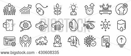 Set Of Science Icons, Such As Certificate Diploma, 5g Upload, Safe Time Icons. Web Settings, Cogwhee