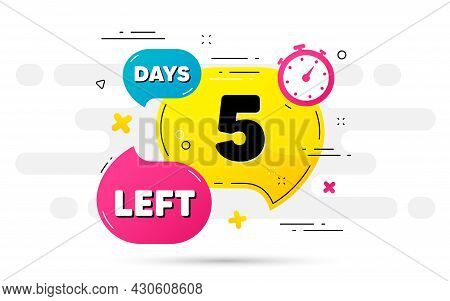 Five Days Left Icon. Countdown Number On Abstract Flow Pattern. 5 Days To Go Sign. Count Offer Date