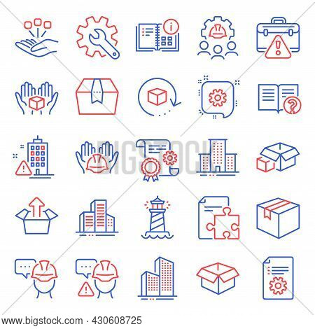 Industrial Icons Set. Included Icon As Instruction Info, Lighthouse, Builders Union Signs. Customisa