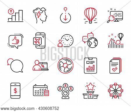 Vector Set Of Technology Icons Related To Handout, Time Management And Search Icons. World Communica