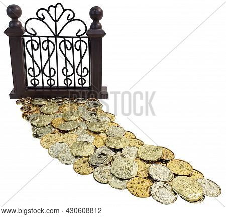 Gold Coins Making An Expensive And Luxurious Path To A Fence